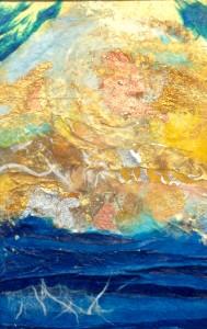 """Laniakea"" Mixed-Media 4""x6"" by Linda Hoffman Kimball"
